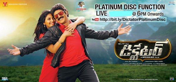 Balakrishna's Dictator Movie Platinum Disc Function Live Streaming Channels info