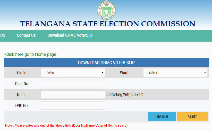 GHMC Elections 2016 Voter Slips & Polling Booth Address Download tsec.gov.in