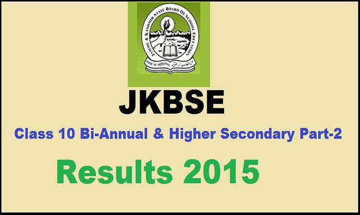 JKSBSE Class 10th Annual Regular Exam Result 2015