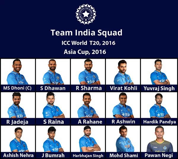 BCCI announced India's 15 Man squad for World T20