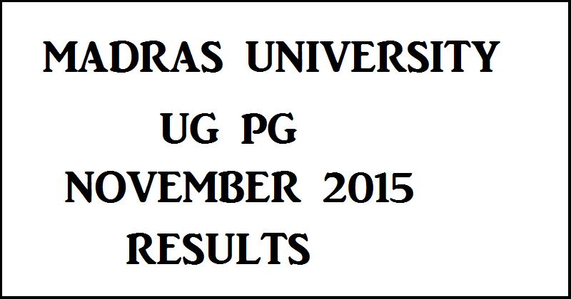 Madras University Results 2015
