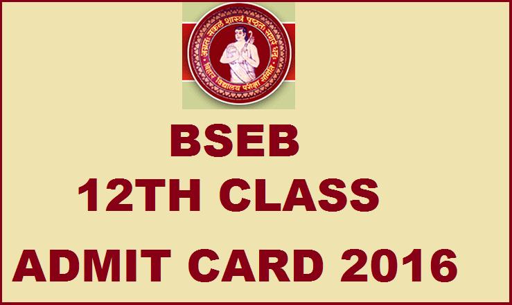 BSEB 12th Class Admit Card/ Hall Ticket 2016
