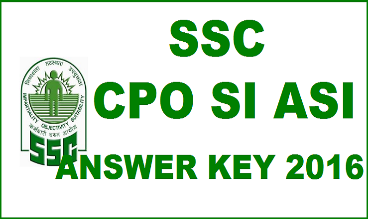SSC CPO Paper I Answer Key 2016 For SI ASI 20th March Exam With Cutoff Marks