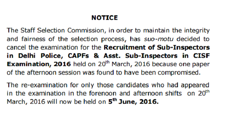 SSC CPO SI ASI Exam Cancelled For 20th March 2016 Afternoon Session| Check Notification Here
