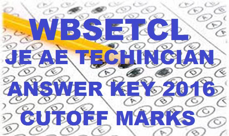 WBSETCL JE AE Technician Answer Key