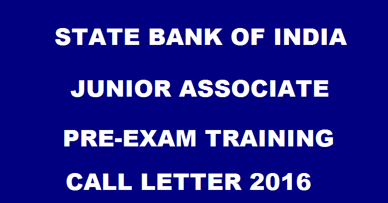 SBI Junior Associate Pre-Exam Training Call Letter Available Now| Download @ sbi.co.in