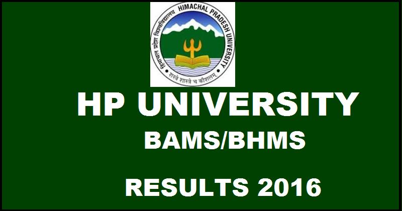 HPU BAMS/ BHMS Result 2016