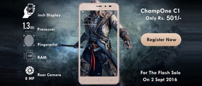 Buy ChampOne C1 4G Mobile Phone Online Registration, Flash sale @ Rs 501 at Champ1india.com From Sep 2