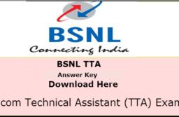 BSNL JE Answer Key 2016 | BSNL TTA Cutoff marks 2016