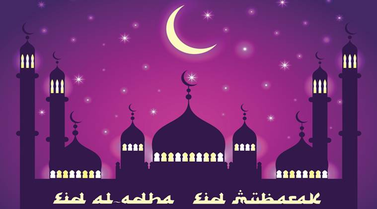 Vector holiday illustration of Eid al Adha. Lettering composition of muslim holy month with mosque building, moon, sparkles and stars.