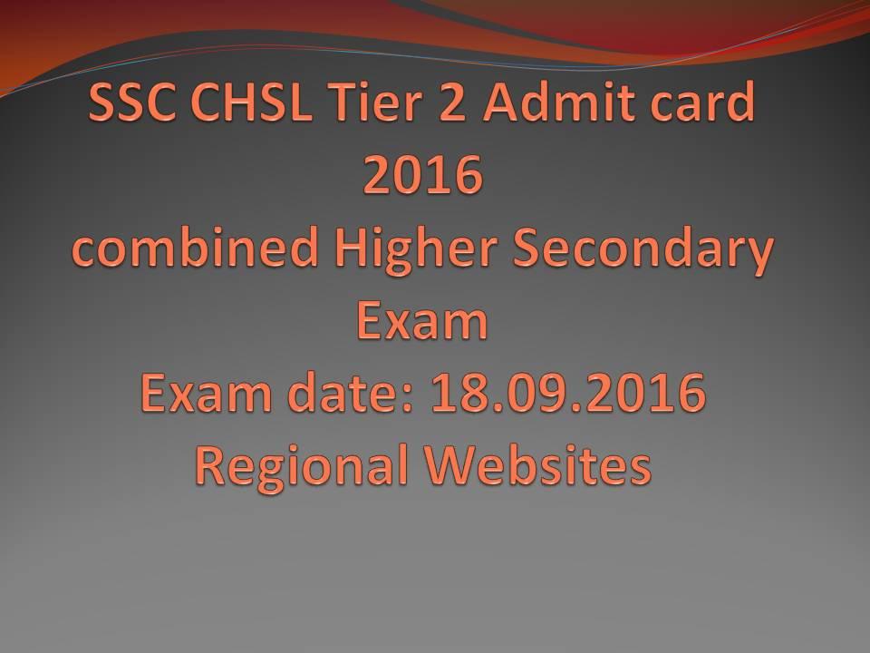 SSC CHSL Tier 2 Admit Card 2016 link download
