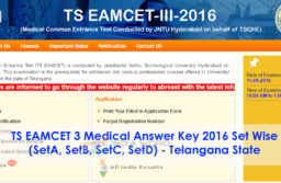 TS EAMCET 3 Exam Answer Key Released 2016 Download Set Wise @ tseamcet.in