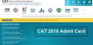 IIM CAT Admit Card/ Hall Ticket 2017 Download @ iimcat.ac.in