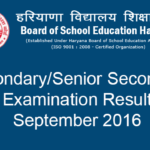 HBSE Class 10 and 12 compartment Results Sept 2016 Declared – Haryana Board 10th/12th Result