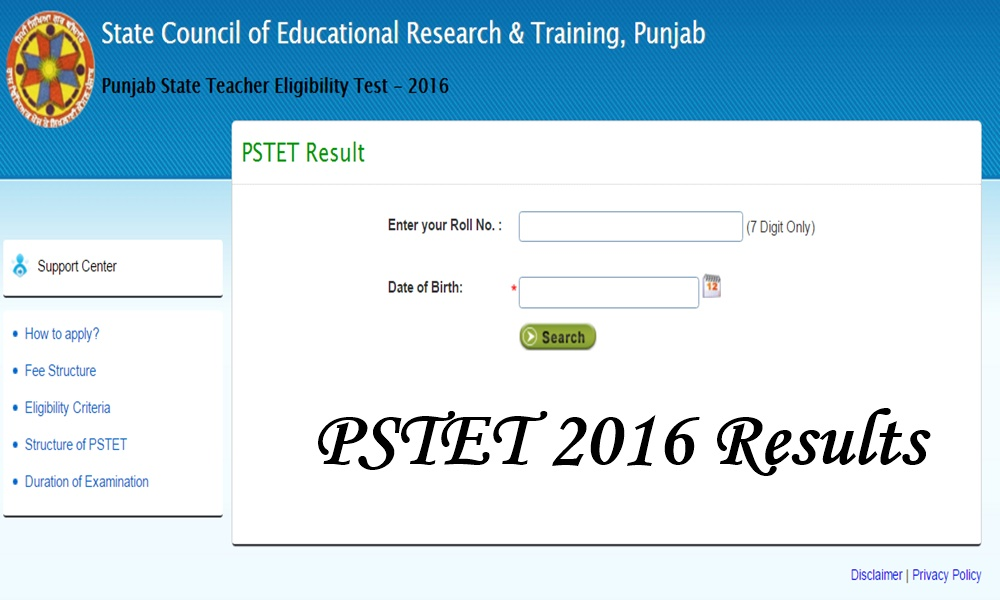 pstet results 2016