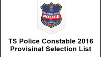 Telangana TS Police Constable 2016 Result – Check District Wise Merit List, Provisinal Selection List @ tslprb.in