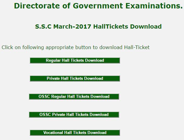 AP S.S.C MARCH - 2017 Halltickets Download