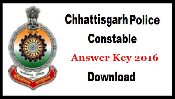 Chhattisgarh CG Police Constable Answer Key 2017