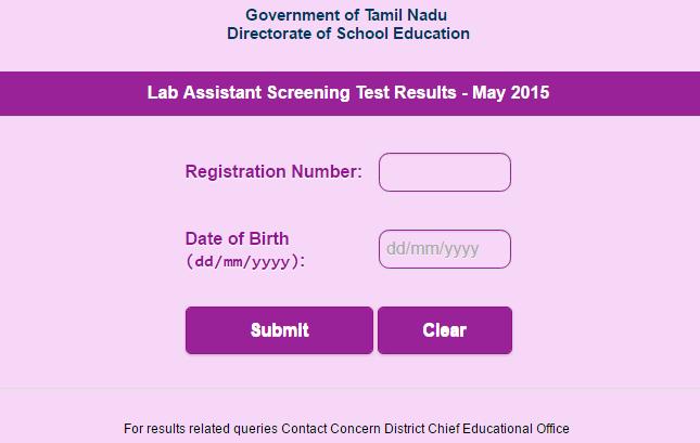 TN Lab Assistant Screening Test Results 2015