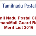 Tamil Nadu Postal Circle Postman/Mail Guard Results, Merit List 2016 @ dopchennai.in
