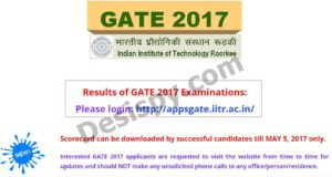GATE 2017 Results Released – Check Score Card, Cut off Marks Branch Wise @ appsgate.iitr.ac.in