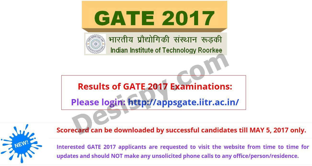 Gate Results: Download Score Card, Cut Off Marks