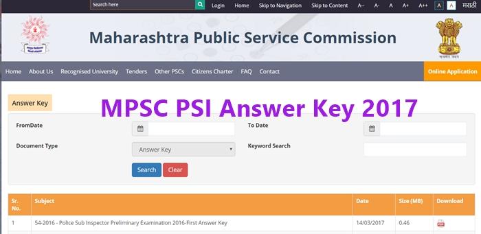 MPSC PSI Answer Key 2017