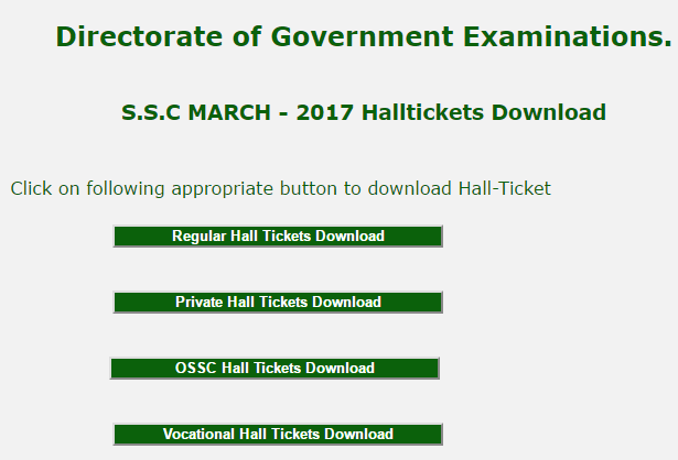 telangana S.S.C MARCH - 2017 Halltickets Download