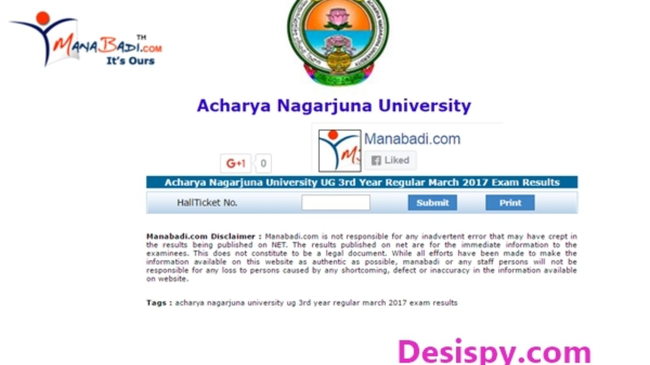 ANU UG Degree 3rd Year/ Final Year Results 2017 Declared- Check