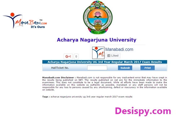 ANU UG Degree 3rd Year/ Final Year Results 2017