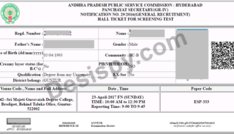 APPSC Group 3 Hall Tickets 2017 (Released) – Download AP Panchayat Secretary Screening Test Hall ticket @ psc.ap.gov.in