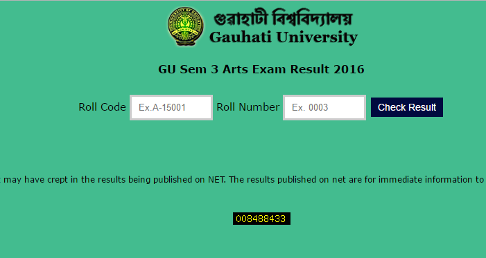 GU Sem 3 Arts Exam Result 2016