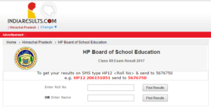 HPBOSE 12th Result 2017 Released – Check HP Board Class 12th Result Name Wise @ hpbose.org, Indiaresults.com