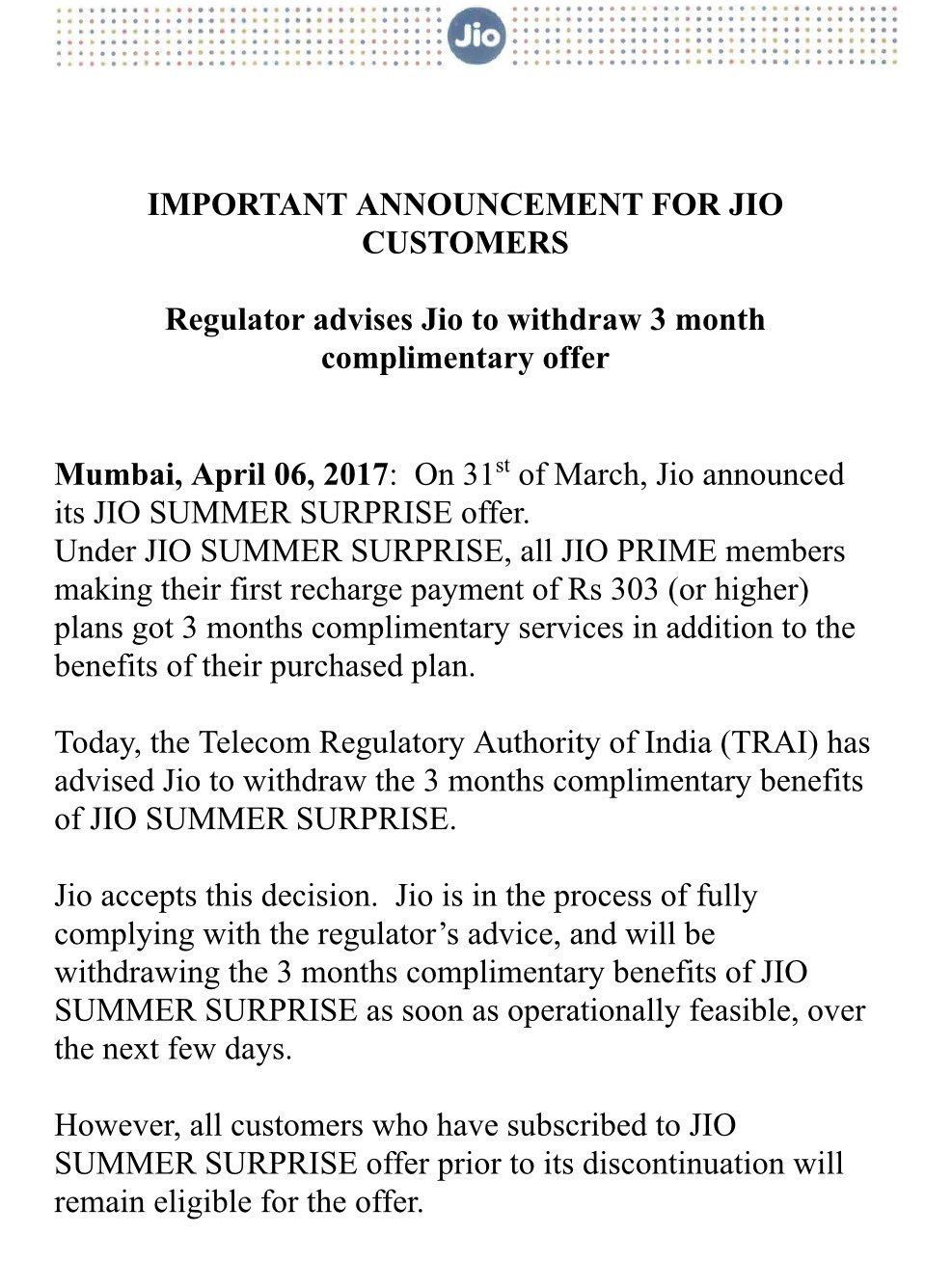 Jio Withdraws Summer Surprise Offer