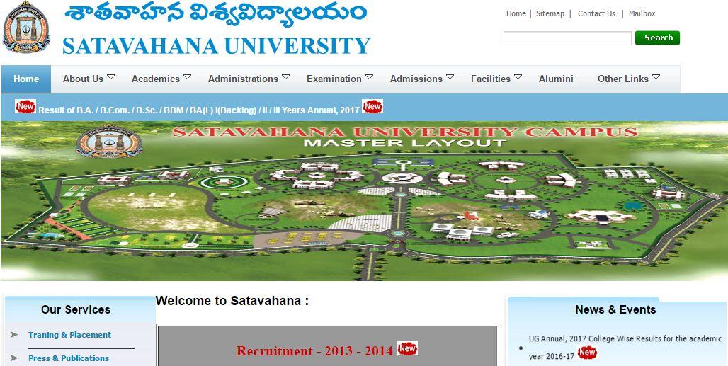 Satavahana University Degree Results 2017