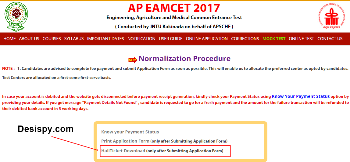 ap eamcet 2017 hall tickets download
