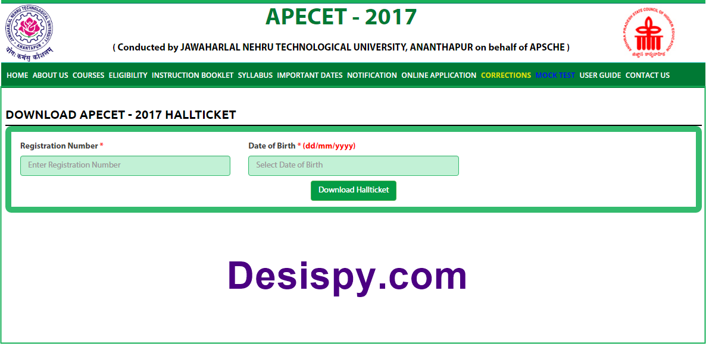 ap ecet 2017 hall tickets