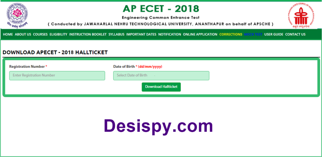 ap ecet 2018 hall tickets