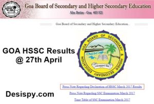 Goa HSSC Results 2017 To Be Declared on 27th April at 10.30 AM – Check GBSHSE Class 12th Result Here @ schools9, indiaresults.com