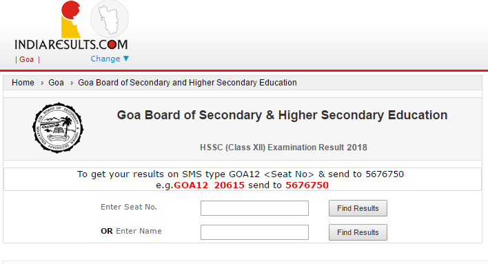 GOA Board HSSC Results 2018