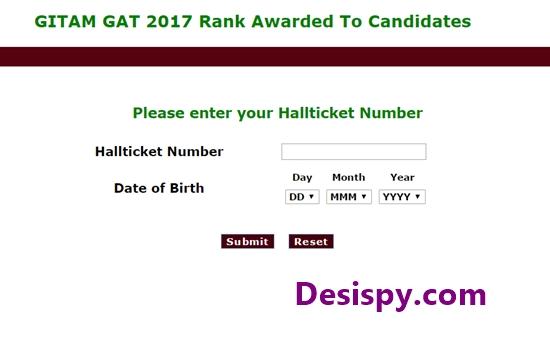 GITAM GAT 2017 Results