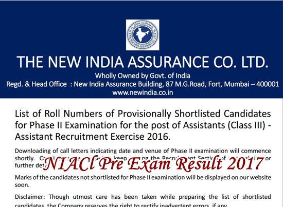 NIACL Assistant Pre Result 2017