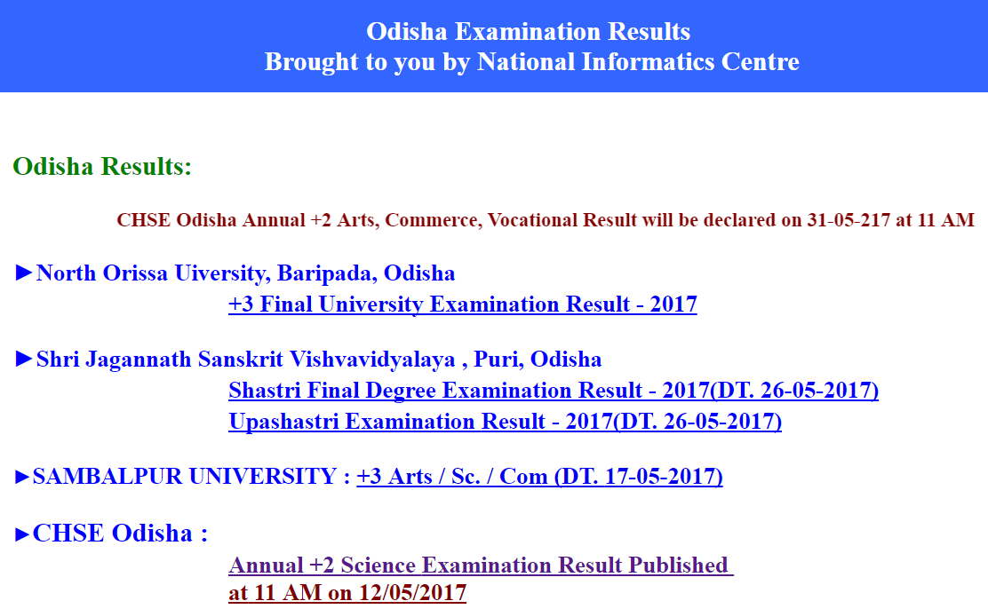 CHSE Odisha Result 2017, Plus 2 result today at orissaresults