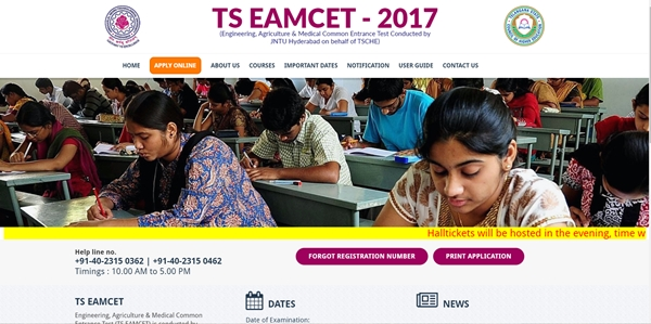 TS EAMCET Hall Tickets 2017