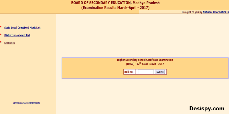 mp board 12th result 2017