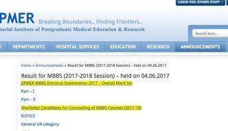 JIPMER MBBS Results 2017 PDF Released – Download Merit List, Score, Marks & Rank Card @ jipmer.edu.in