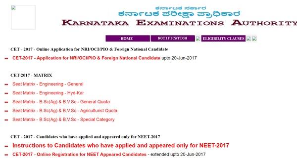 Karnataka Cet Seat Matrix Allotment Released Here Kea