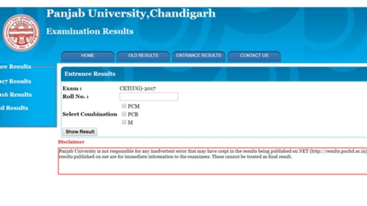 PU CET Result 2017 Released - Check Panjab University PUCET
