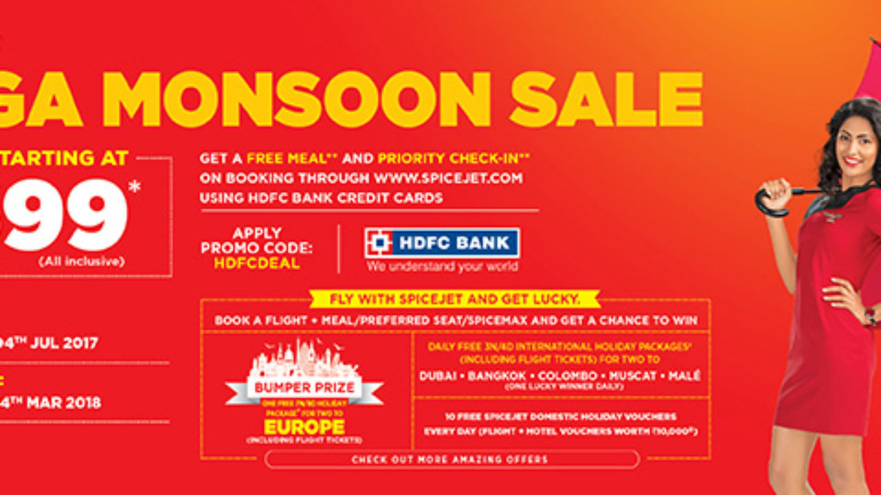SpiceJet monsoon sale on all domestic flights, fares