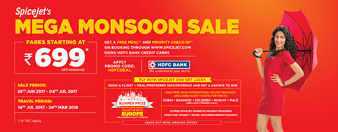 SpiceJet monsoon sale on all domestic flights, fares starting @ Rs 699
